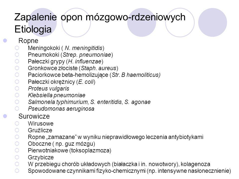 Zapalenie opon mózgowo-rdzeniowych Etiologia Ropne  Meningokoki ( N. meningitidis)  Pneumokoki (Strep. pneumoniae)  Pałeczki grypy (H. influenzae)