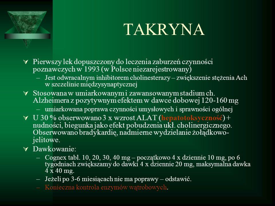TAKRYNA  Pierwszy lek dopuszczony do leczenia zaburzeń czynności poznawczych w 1993 (w Polsce niezarejestrowany) –Jest odwracalnym inhibitorem cholinesterazy – zwiększenie stężenia Ach w szczelinie międzysynaptycznej  Stosowana w umiarkowanym i zawansowanym stadium ch.