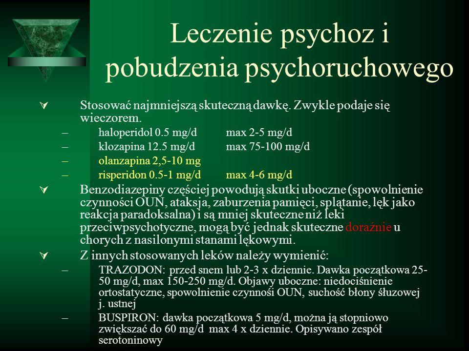 Leczenie psychoz i pobudzenia psychoruchowego  Stosować najmniejszą skuteczną dawkę.