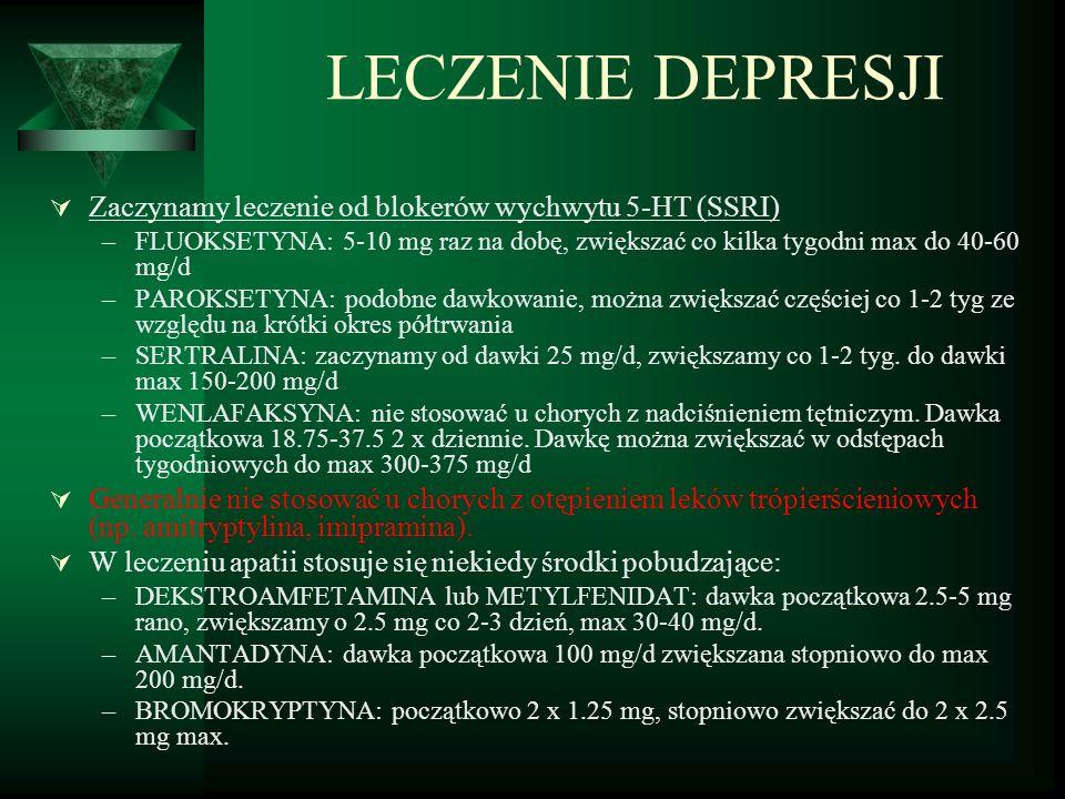 LECZENIE DEPRESJI  Zaczynamy leczenie od blokerów wychwytu 5-HT (SSRI) –FLUOKSETYNA: 5-10 mg raz na dobę, zwiększać co kilka tygodni max do 40-60 mg/d –PAROKSETYNA: podobne dawkowanie, można zwiększać częściej co 1-2 tyg ze względu na krótki okres półtrwania –SERTRALINA: zaczynamy od dawki 25 mg/d, zwiększamy co 1-2 tyg.