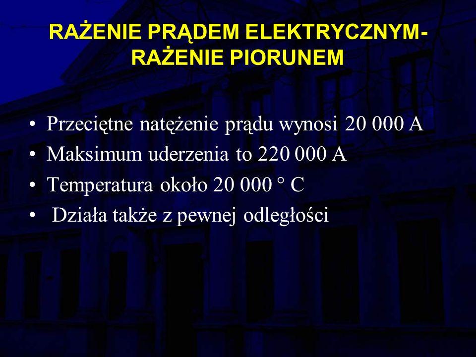 RAŻENIE PRĄDEM ELEKTRYCZNYM- RAŻENIE PIORUNEM Przeciętne natężenie prądu wynosi 20 000 A Maksimum uderzenia to 220 000 A Temperatura około 20 000 ° C Działa także z pewnej odległości