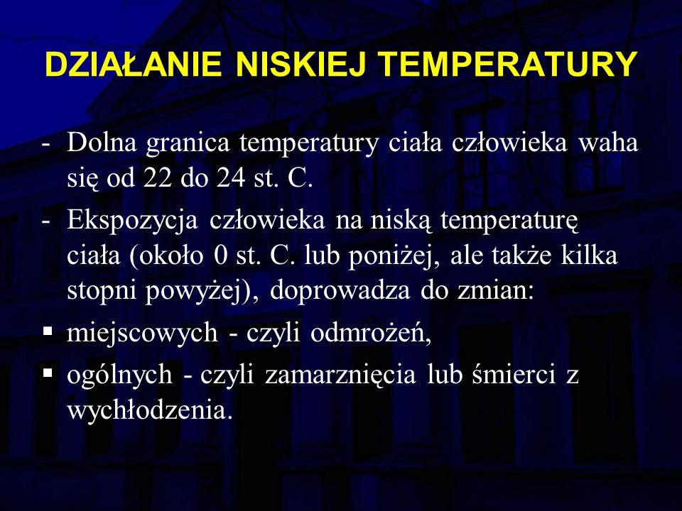 DZIAŁANIE NISKIEJ TEMPERATURY -Dolna granica temperatury ciała człowieka waha się od 22 do 24 st.