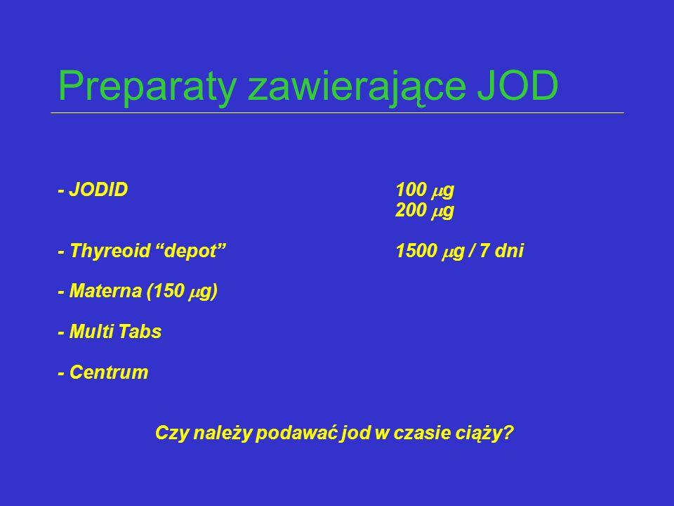 """Preparaty zawierające JOD - JODID100  g 200  g - Thyreoid """"depot"""" 1500  g / 7 dni - Materna (150  g) - Multi Tabs - Centrum Czy należy podawać jod"""
