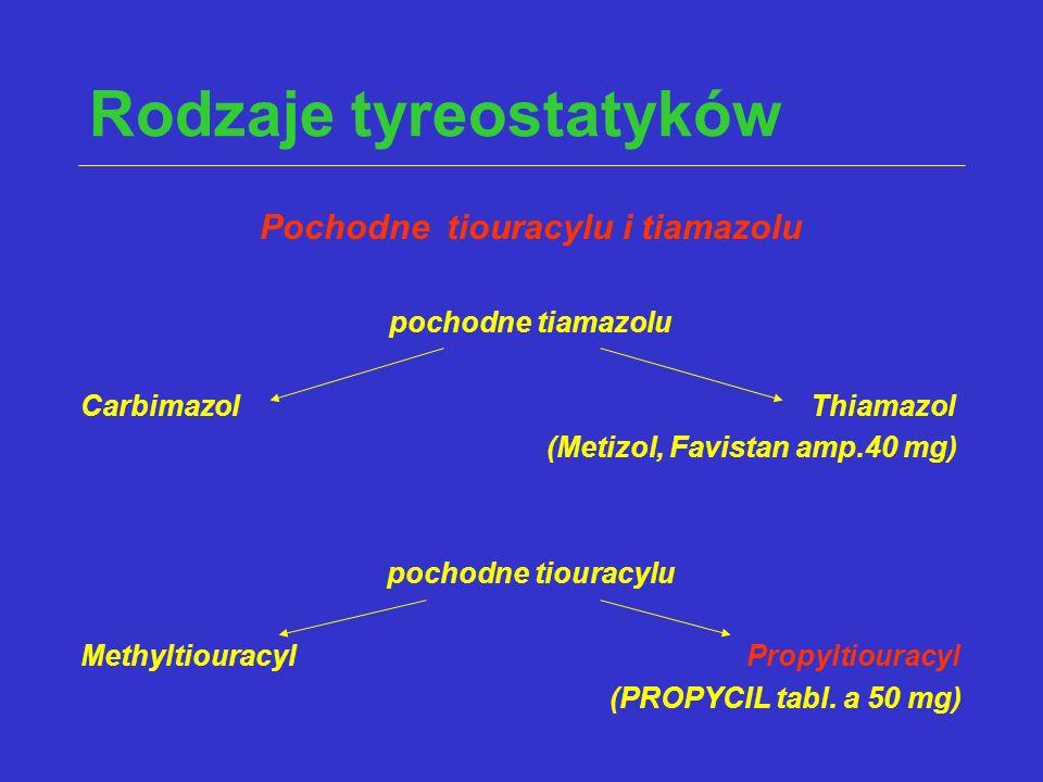 Rodzaje tyreostatyków Pochodne tiouracylu i tiamazolu pochodne tiamazolu CarbimazolThiamazol (Metizol, Favistan amp.40 mg) pochodne tiouracylu Methylt