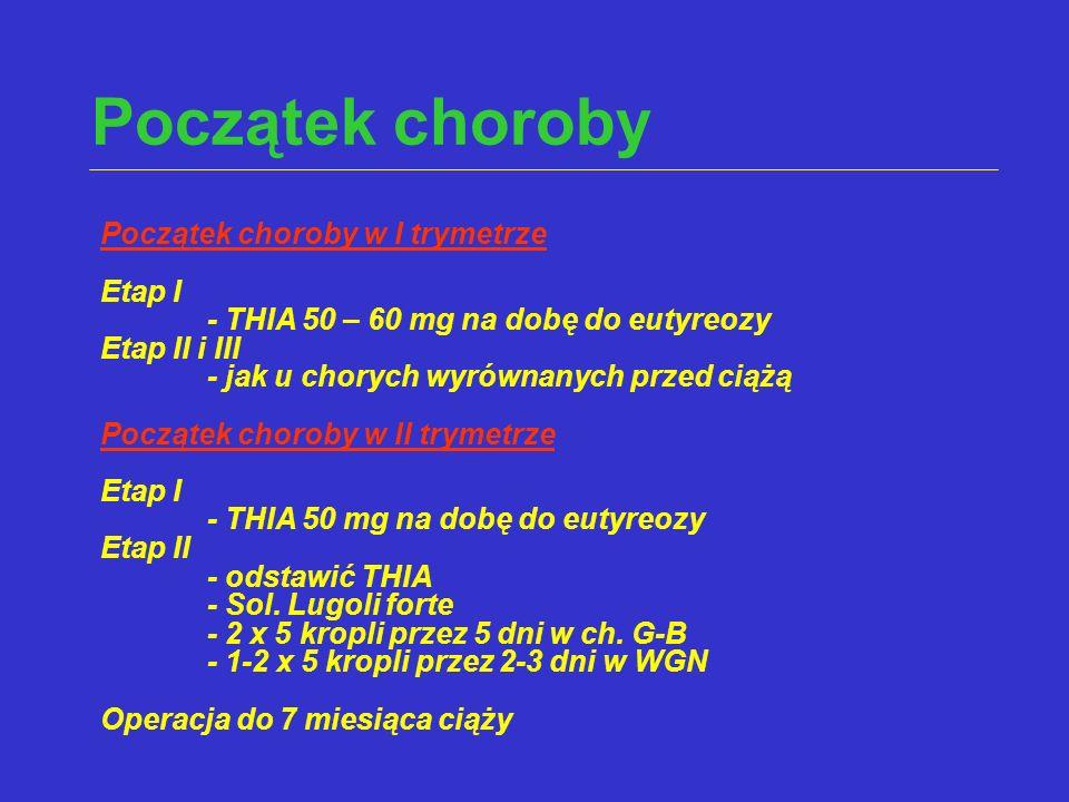 Początek choroby Początek choroby w I trymetrze Etap I - THIA 50 – 60 mg na dobę do eutyreozy Etap II i III - jak u chorych wyrównanych przed ciążą Po