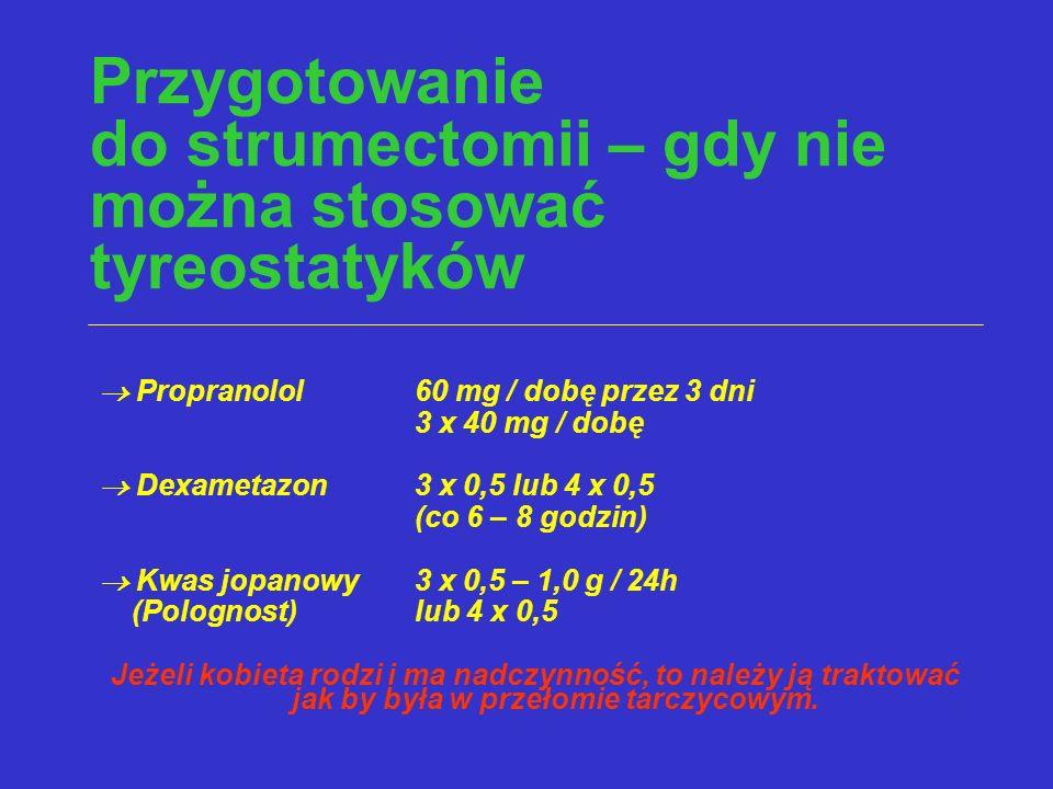 Przygotowanie do strumectomii – gdy nie można stosować tyreostatyków  Propranolol60 mg / dobę przez 3 dni 3 x 40 mg / dobę  Dexametazon 3 x 0,5 lub