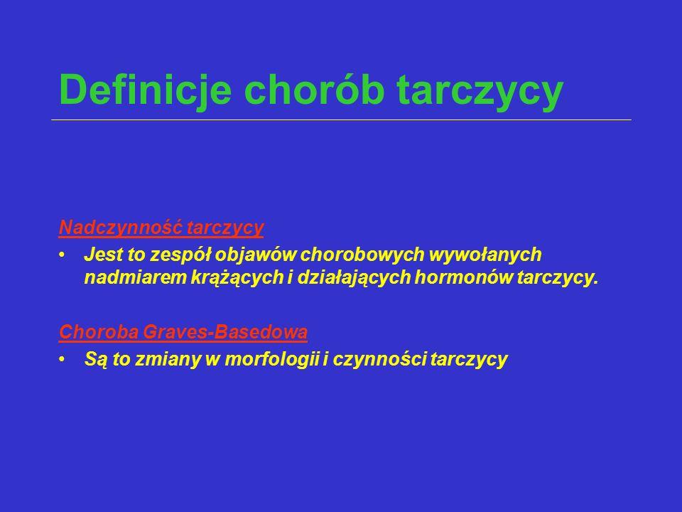 Definicje chorób tarczycy Nadczynność tarczycy Jest to zespół objawów chorobowych wywołanych nadmiarem krążących i działających hormonów tarczycy. Cho