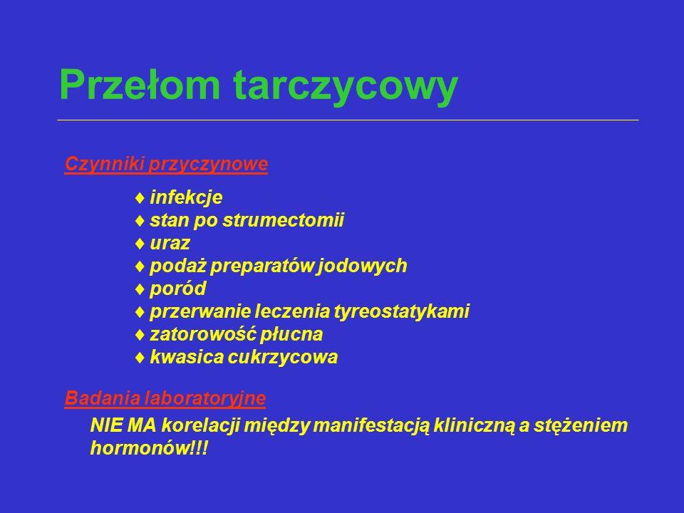 Przełom tarczycowy Czynniki przyczynowe  infekcje  stan po strumectomii  uraz  podaż preparatów jodowych  poród  przerwanie leczenia tyreostatyk
