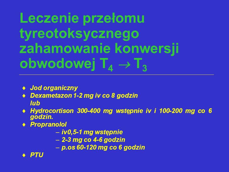 Leczenie przełomu tyreotoksycznego zahamowanie konwersji obwodowej T 4  T 3  Jod organiczny  Dexametazon 1-2 mg iv co 8 godzin lub  Hydrocortison