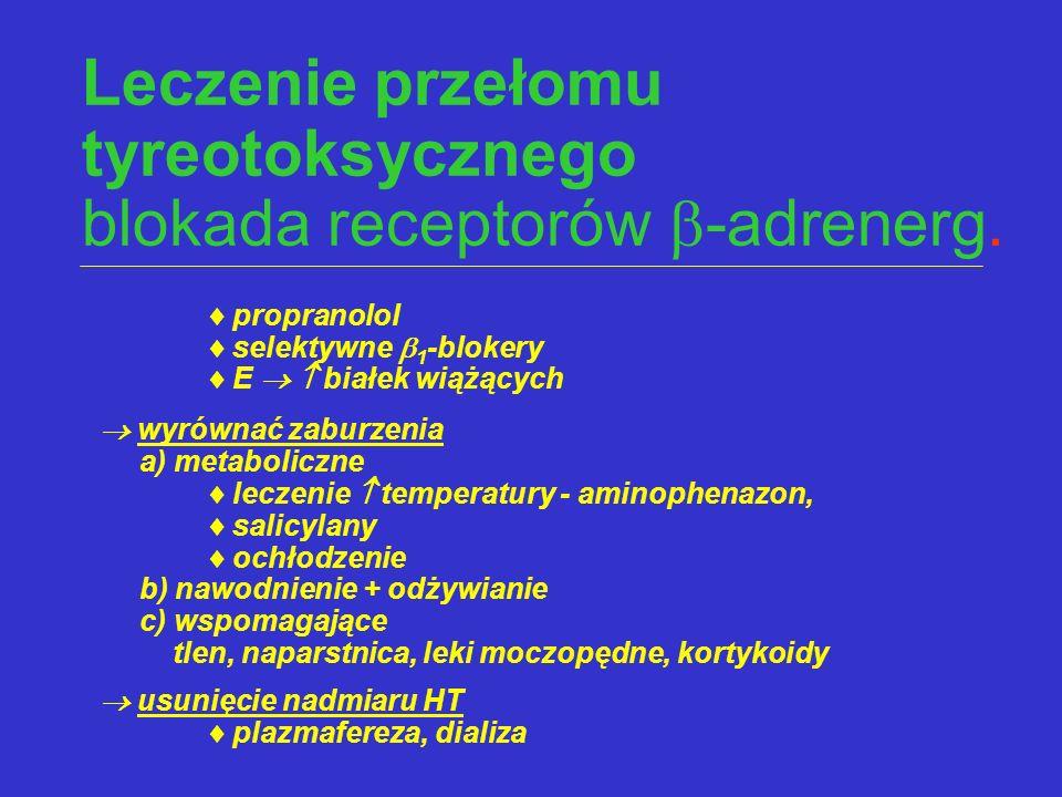 Leczenie przełomu tyreotoksycznego blokada receptorów  -adrenerg.  propranolol  selektywne  1 -blokery  E   białek wiążących  wyrównać zaburze