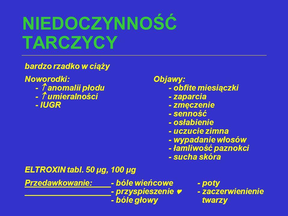 NIEDOCZYNNOŚĆ TARCZYCY bardzo rzadko w ciąży Noworodki: Objawy: -  anomalii płodu- obfite miesiączki -  umieralności- zaparcia - IUGR- zmęczenie - s