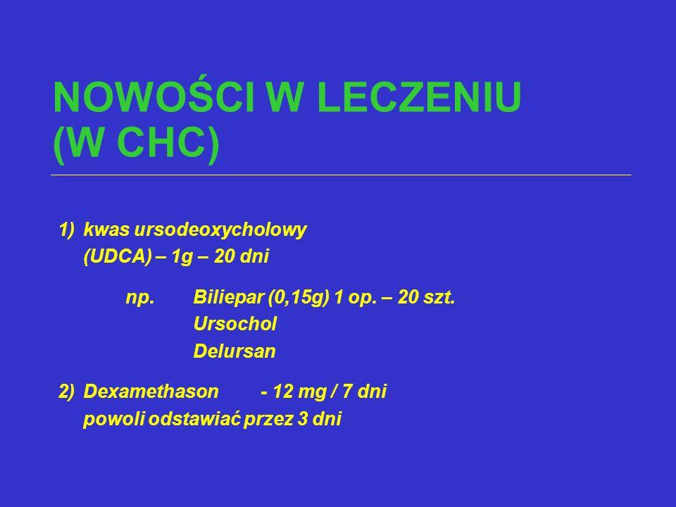 NOWOŚCI W LECZENIU (W CHC) 1)kwas ursodeoxycholowy (UDCA) – 1g – 20 dni np.Biliepar (0,15g) 1 op. – 20 szt. Ursochol Delursan 2)Dexamethason- 12 mg /