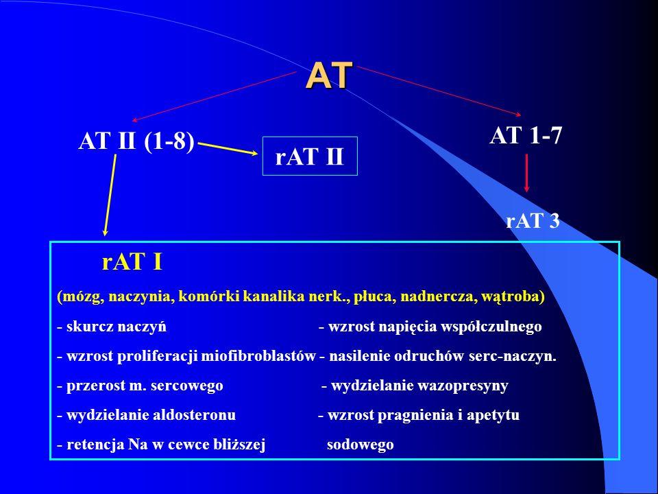 AT AT II (1-8) AT 1-7 rAT 3 rAT I (mózg, naczynia, komórki kanalika nerk., płuca, nadnercza, wątroba) - skurcz naczyń - wzrost napięcia współczulnego - wzrost proliferacji miofibroblastów - nasilenie odruchów serc-naczyn.