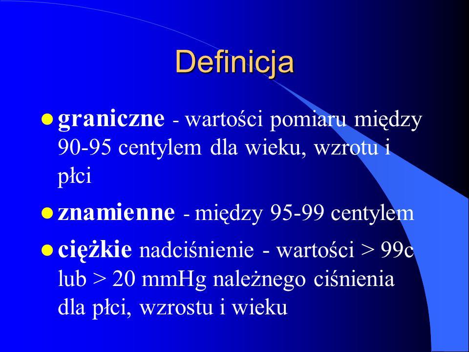 Definicja l graniczne - wartości pomiaru między 90-95 centylem dla wieku, wzrotu i płci l znamienne - między 95-99 centylem l ciężkie nadciśnienie - wartości > 99c lub > 20 mmHg należnego ciśnienia dla płci, wzrostu i wieku