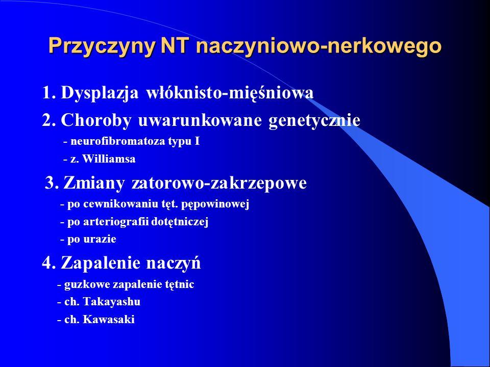 Przyczyny NT naczyniowo-nerkowego 1. Dysplazja włóknisto-mięśniowa 2. Choroby uwarunkowane genetycznie - neurofibromatoza typu I - z. Williamsa 3. Zmi
