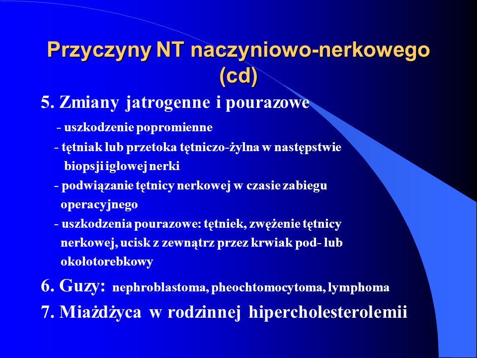 Przyczyny NT naczyniowo-nerkowego (cd) 5. Zmiany jatrogenne i pourazowe - uszkodzenie popromienne - tętniak lub przetoka tętniczo-żylna w następstwie