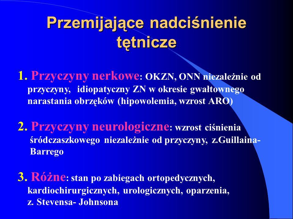 Przemijające nadciśnienie tętnicze 1. Przyczyny nerkowe : OKZN, ONN niezależnie od przyczyny, idiopatyczny ZN w okresie gwałtownego narastania obrzękó