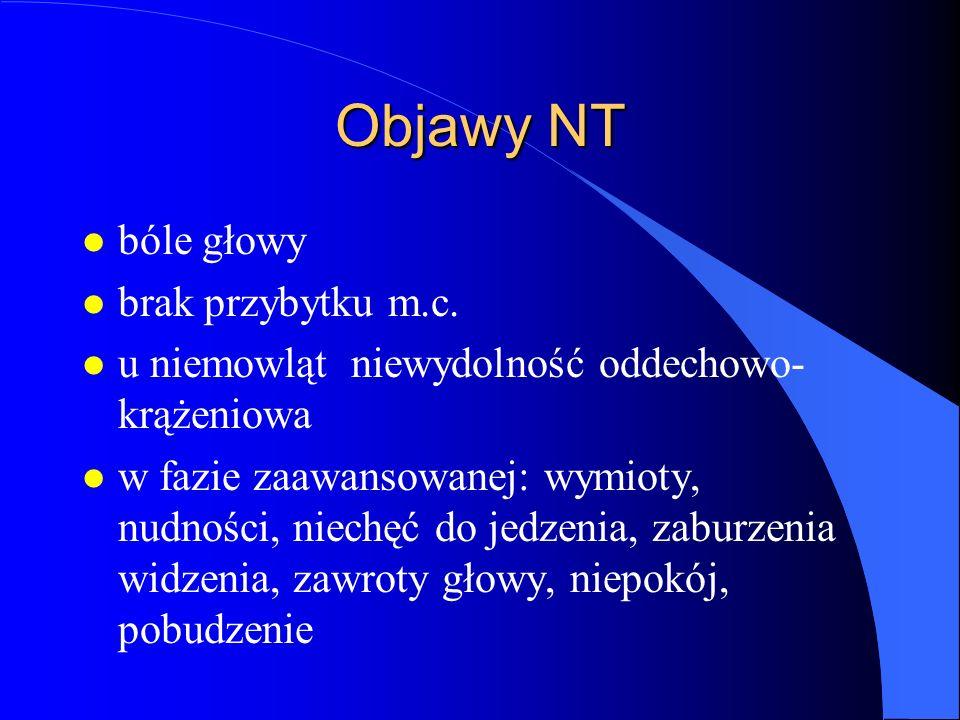 Objawy NT l bóle głowy l brak przybytku m.c. l u niemowląt niewydolność oddechowo- krążeniowa l w fazie zaawansowanej: wymioty, nudności, niechęć do j