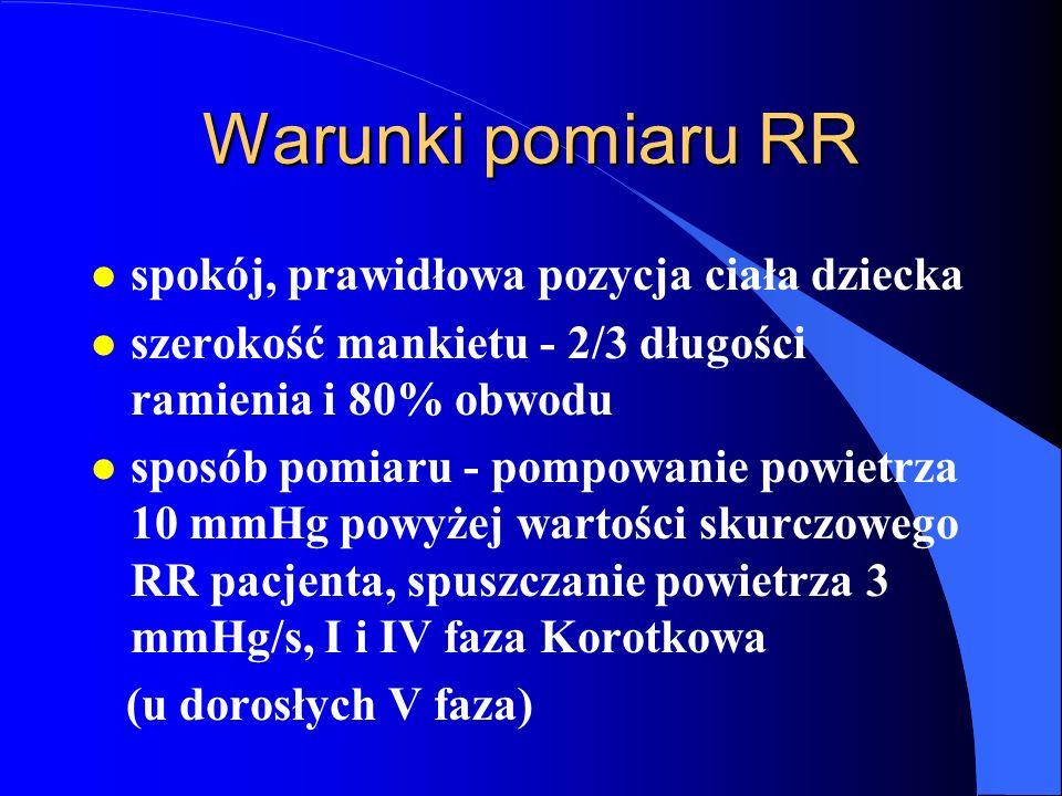 Warunki pomiaru RR l spokój, prawidłowa pozycja ciała dziecka l szerokość mankietu - 2/3 długości ramienia i 80% obwodu l sposób pomiaru - pompowanie powietrza 10 mmHg powyżej wartości skurczowego RR pacjenta, spuszczanie powietrza 3 mmHg/s, I i IV faza Korotkowa (u dorosłych V faza)