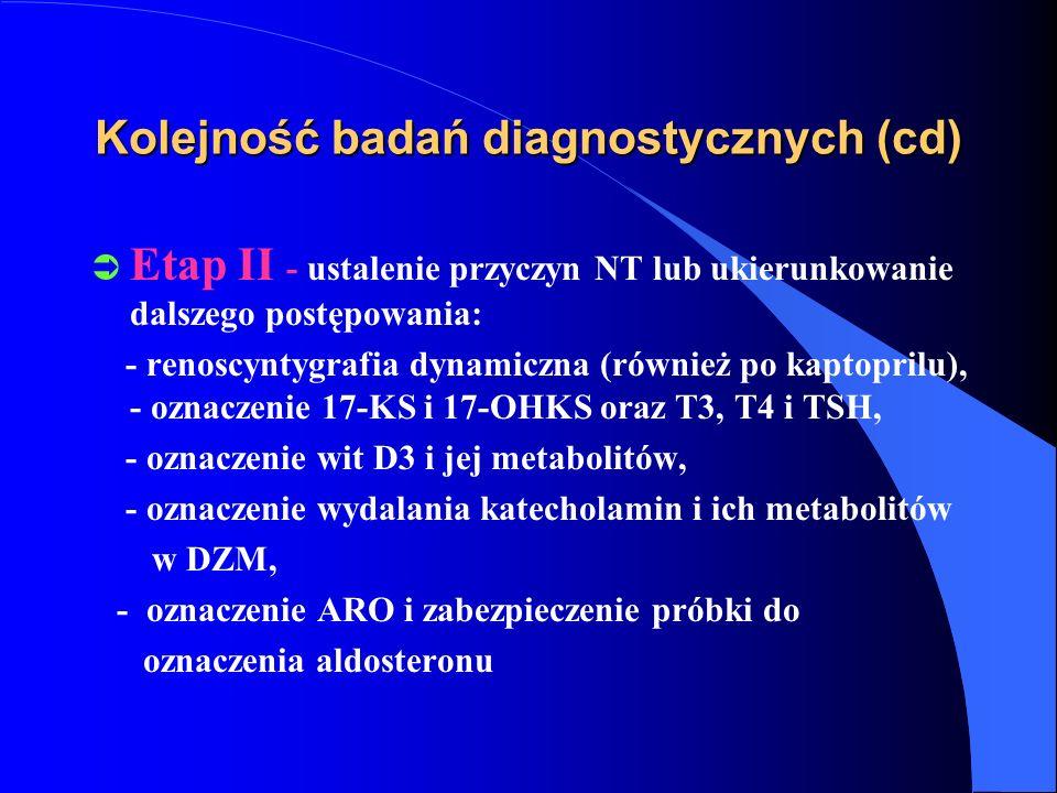 Kolejność badań diagnostycznych (cd) Ü Etap II - ustalenie przyczyn NT lub ukierunkowanie dalszego postępowania: - renoscyntygrafia dynamiczna (również po kaptoprilu), - oznaczenie 17-KS i 17-OHKS oraz T3, T4 i TSH, - oznaczenie wit D3 i jej metabolitów, - oznaczenie wydalania katecholamin i ich metabolitów w DZM, - oznaczenie ARO i zabezpieczenie próbki do oznaczenia aldosteronu