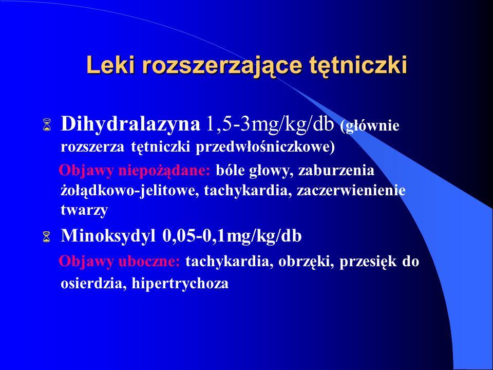 Leki rozszerzające tętniczki 6 Dihydralazyna 1,5-3mg/kg/db (głównie rozszerza tętniczki przedwłośniczkowe) Objawy niepożądane: bóle głowy, zaburzenia żołądkowo-jelitowe, tachykardia, zaczerwienienie twarzy 6 Minoksydyl 0,05-0,1mg/kg/db Objawy uboczne: tachykardia, obrzęki, przesięk do osierdzia, hipertrychoza