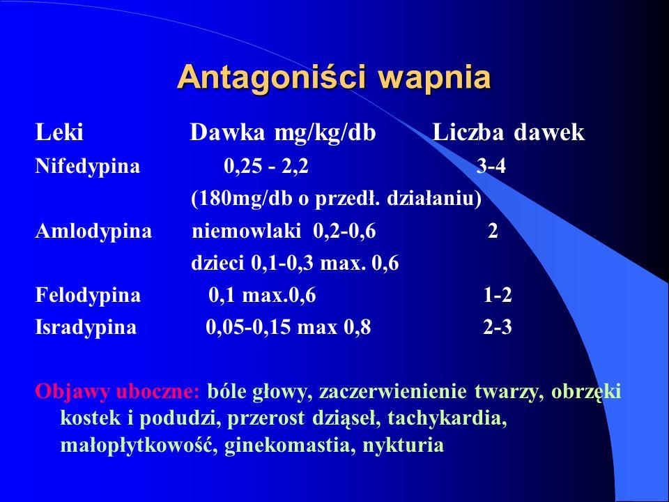 Antagoniści wapnia Leki Dawka mg/kg/db Liczba dawek Nifedypina 0,25 - 2,2 3-4 (180mg/db o przedł. działaniu) Amlodypina niemowlaki 0,2-0,6 2 dzieci 0,