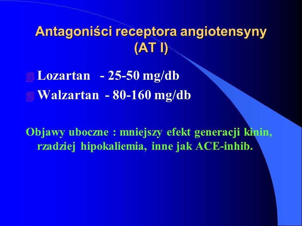 Antagoniści receptora angiotensyny (AT I) 4 Lozartan - 25-50 mg/db 4 Walzartan - 80-160 mg/db Objawy uboczne : mniejszy efekt generacji kinin, rzadziej hipokaliemia, inne jak ACE-inhib.