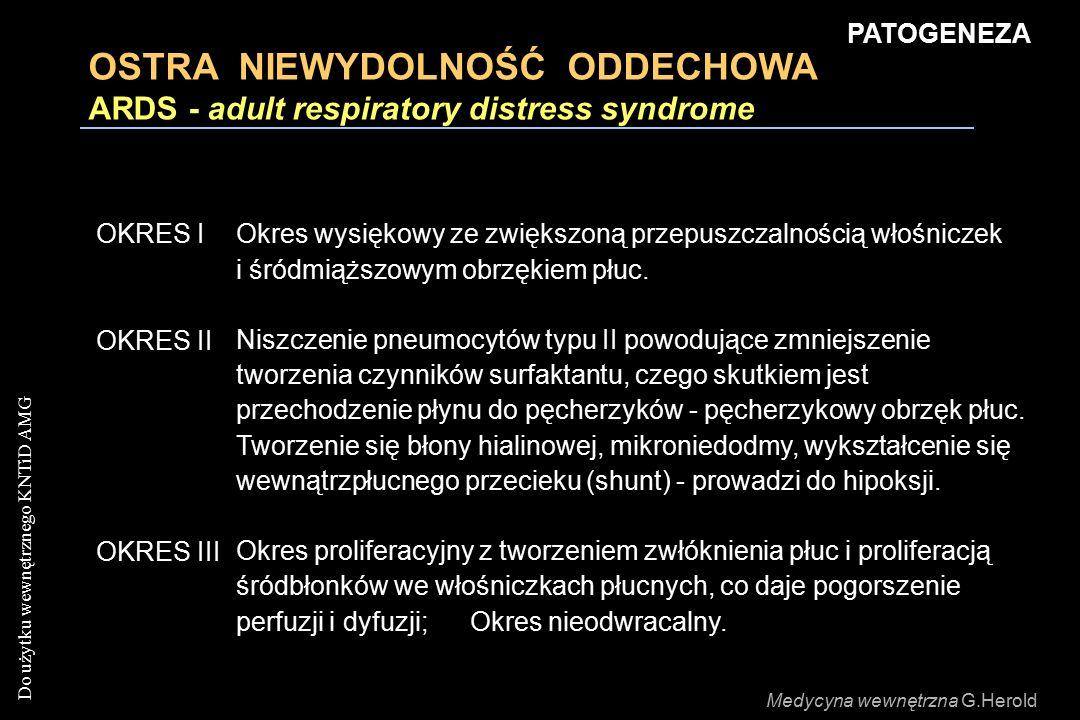 Do użytku wewnętrznego KNTiD AMG OSTRA NIEWYDOLNOŚĆ ODDECHOWA ARDS - adult respiratory distress syndrome OKRES IOkres wysiękowy ze zwiększoną przepusz