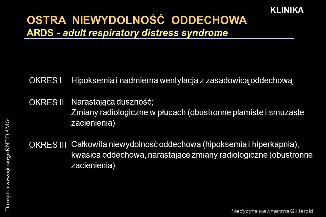 Do użytku wewnętrznego KNTiD AMG OSTRA NIEWYDOLNOŚĆ ODDECHOWA ARDS - adult respiratory distress syndrome OKRES IHipoksemia i nadmierna wentylacja z za