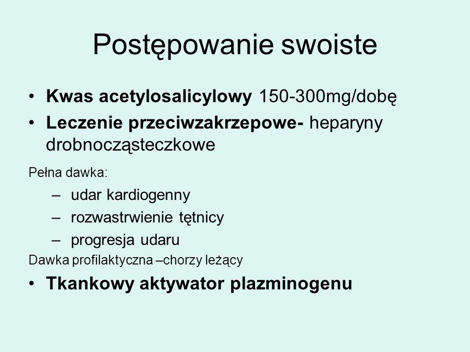 Postępowanie swoiste Kwas acetylosalicylowy 150-300mg/dobę Leczenie przeciwzakrzepowe- heparyny drobnocząsteczkowe Pełna dawka: – udar kardiogenny – rozwastrwienie tętnicy – progresja udaru Dawka profilaktyczna –chorzy leżący Tkankowy aktywator plazminogenu