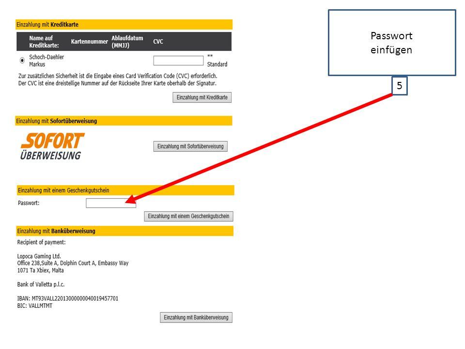 5 Passwort einfügen