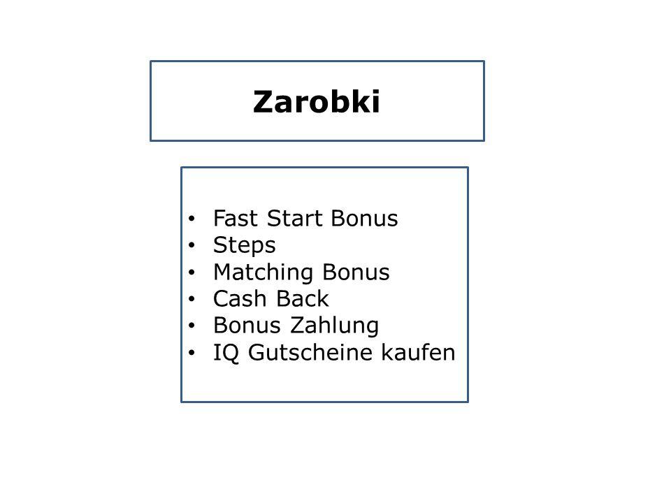 Zarobki Fast Start Bonus Steps Matching Bonus Cash Back Bonus Zahlung IQ Gutscheine kaufen