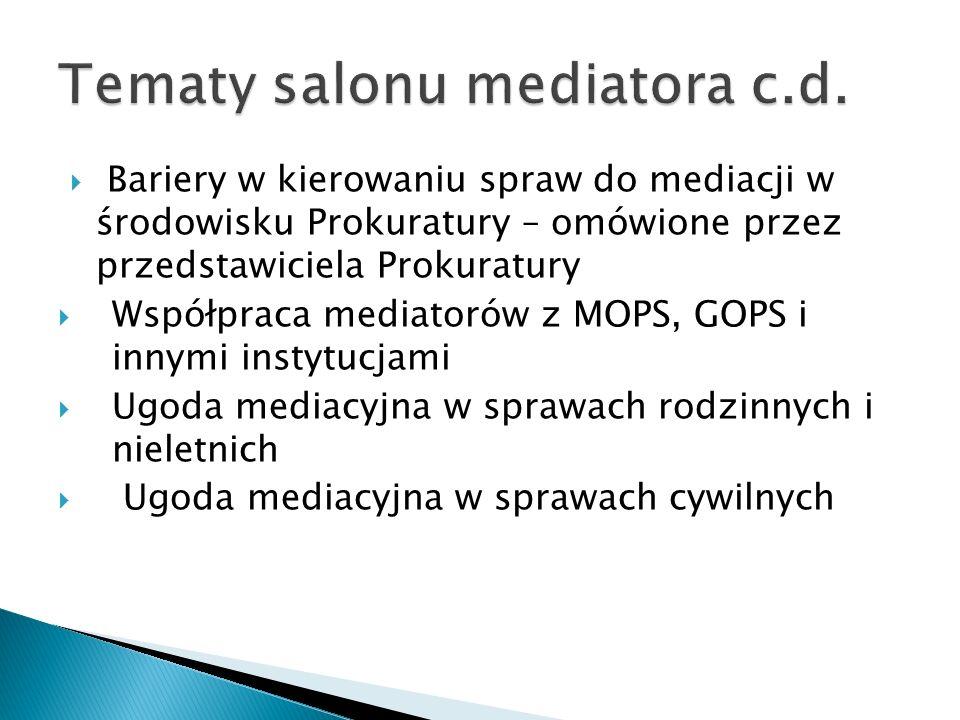  Bariery w kierowaniu spraw do mediacji w środowisku Prokuratury – omówione przez przedstawiciela Prokuratury  Współpraca mediatorów z MOPS, GOPS i innymi instytucjami  Ugoda mediacyjna w sprawach rodzinnych i nieletnich  Ugoda mediacyjna w sprawach cywilnych