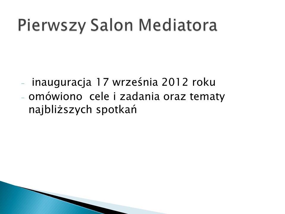 - inauguracja 17 września 2012 roku - omówiono cele i zadania oraz tematy najbliższych spotkań