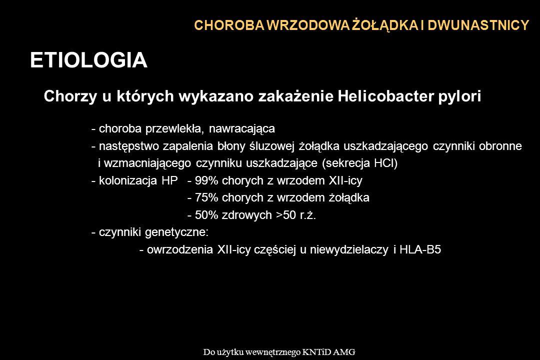 Do użytku wewnętrznego KNTiD AMG CHOROBA WRZODOWA ŻOŁĄDKA I DWUNASTNICY ETIOLOGIA Chorzy u których wykazano zakażenie Helicobacter pylori - choroba przewlekła, nawracająca - następstwo zapalenia błony śluzowej żołądka uszkadzającego czynniki obronne i wzmacniającego czynniku uszkadzające (sekrecja HCl) - kolonizacja HP - 99% chorych z wrzodem XII-icy - 75% chorych z wrzodem żołądka - 50% zdrowych >50 r.ż.