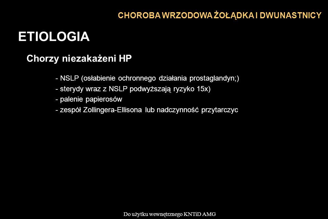 Do użytku wewnętrznego KNTiD AMG CHOROBA WRZODOWA ŻOŁĄDKA I DWUNASTNICY ETIOLOGIA Chorzy niezakażeni HP - NSLP (osłabienie ochronnego działania prosta