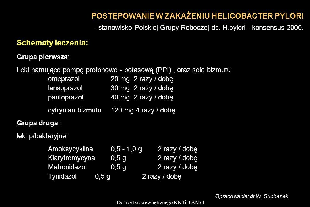 Do użytku wewnętrznego KNTiD AMG Schematy leczenia: Grupa pierwsza: Leki hamujące pompę protonowo - potasową (PPI), oraz sole bizmutu. omeprazol 20 mg