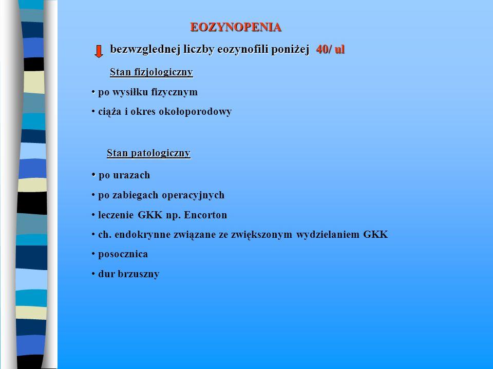 EOZYNOPENIA bezwzglednej liczby eozynofili poniżej 40/ ul bezwzglednej liczby eozynofili poniżej 40/ ul Stan fizjologiczny Stan fizjologiczny po wysił