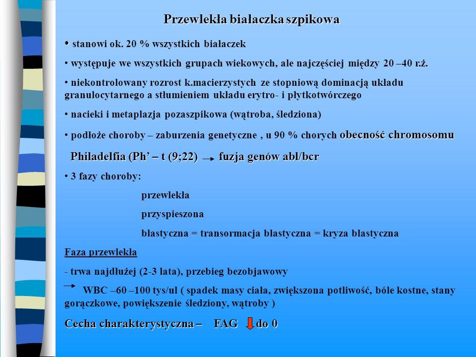 Przewlekła białaczka szpikowa Przewlekła białaczka szpikowa stanowi ok. 20 % wszystkich białaczek występuje we wszystkich grupach wiekowych, ale najcz