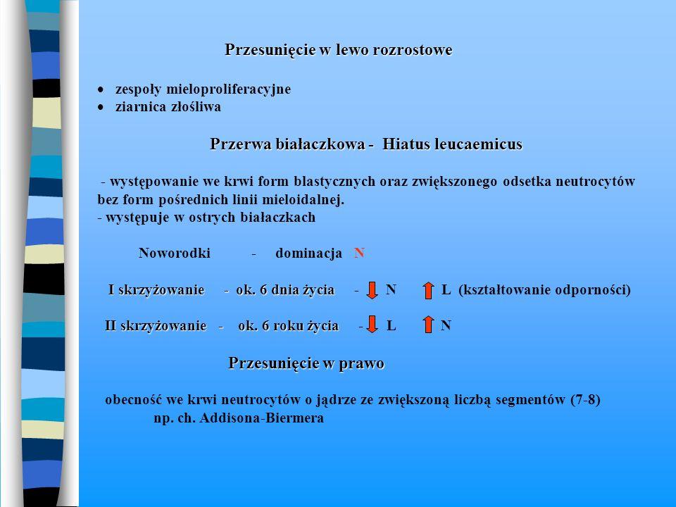 Przesunięcie w lewo rozrostowe  zespoły mieloproliferacyjne  ziarnica złośliwa Przerwa białaczkowa - Hiatus leucaemicus - występowanie we krwi form