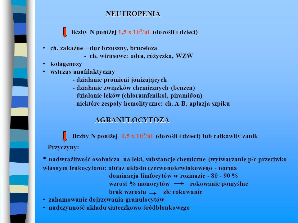NEUTROPENIA liczby N poniżej 1,5 x 10 3 /ul (dorośli i dzieci) ch. zakaźne – dur brzuszny, bruceloza - ch. wirusowe: odra, różyczka, WZW kolagenozy ws