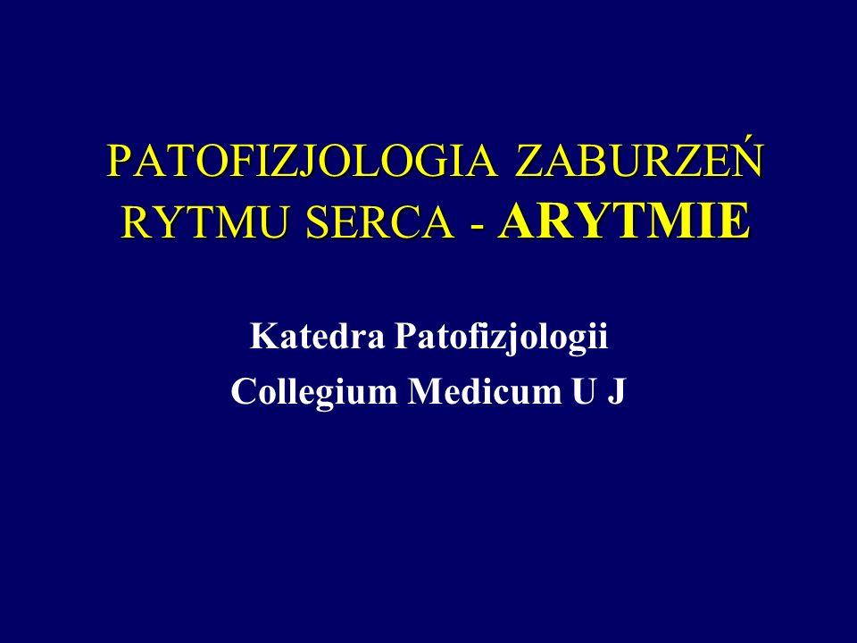 PATOFIZJOLOGIA ZABURZEŃ RYTMU SERCA - ARYTMIE Katedra Patofizjologii Collegium Medicum U J