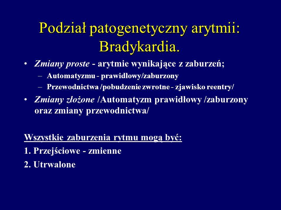 Podział patogenetyczny arytmii: Bradykardia. Zmiany proste - arytmie wynikające z zaburzeń; –Automatyzmu - prawidłowy/zaburzony –Przewodnictwa /pobudz