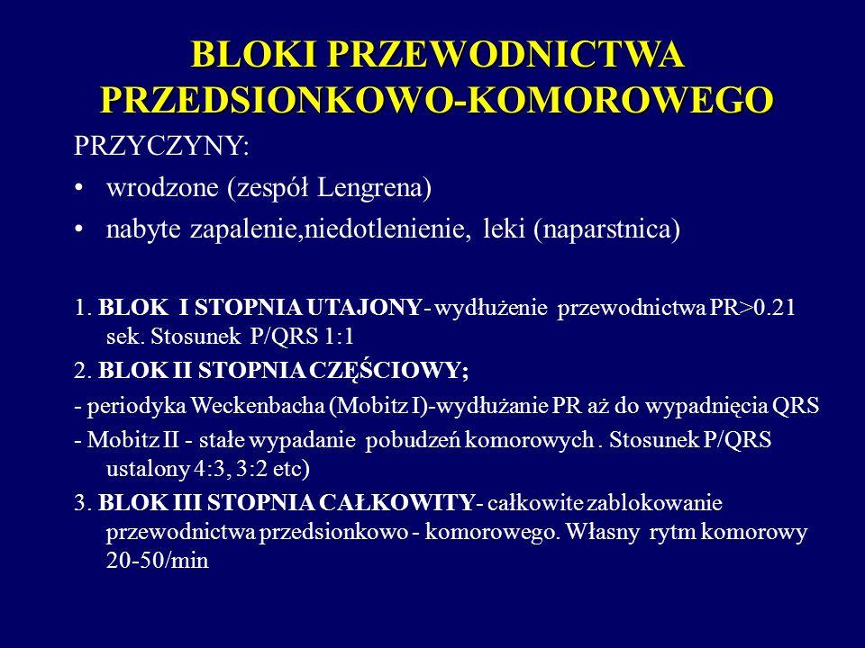 BLOKI PRZEWODNICTWA PRZEDSIONKOWO-KOMOROWEGO PRZYCZYNY: wrodzone (zespół Lengrena) nabyte zapalenie,niedotlenienie, leki (naparstnica) 1. BLOK I STOPN