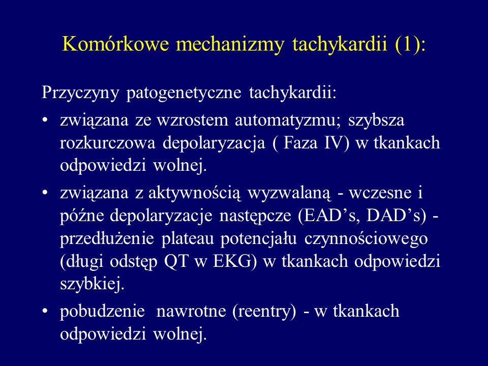 Komórkowe mechanizmy tachykardii (1): Przyczyny patogenetyczne tachykardii: związana ze wzrostem automatyzmu; szybsza rozkurczowa depolaryzacja ( Faza