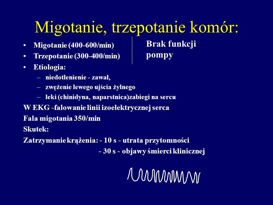 Migotanie, trzepotanie komór: Migotanie (400-600/min) Trzepotanie (300-400/min) Etiologia: –niedotlenienie - zawał, –zwężenie lewego ujścia żylnego –l