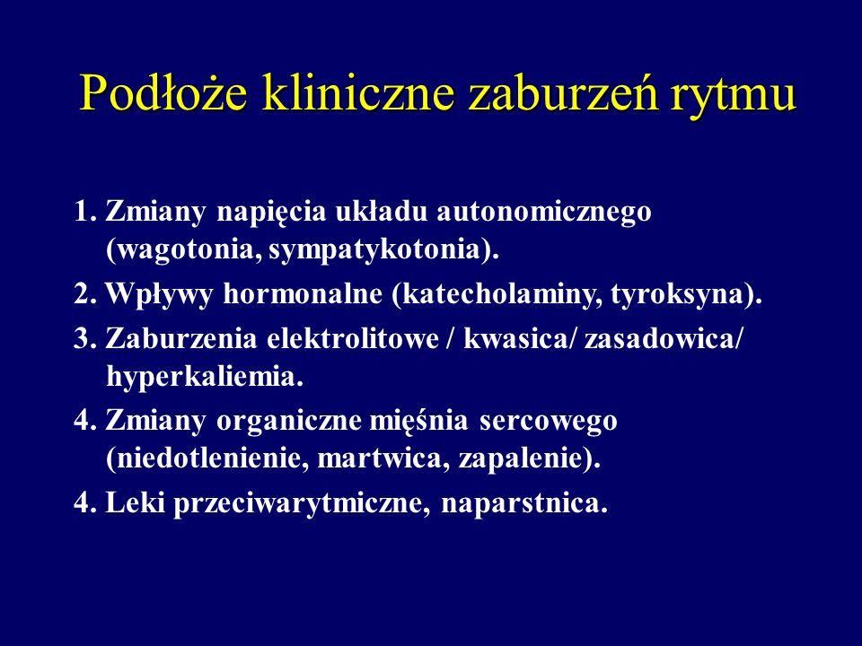 Podłoże kliniczne zaburzeń rytmu 1. Zmiany napięcia układu autonomicznego (wagotonia, sympatykotonia). 2. Wpływy hormonalne (katecholaminy, tyroksyna)