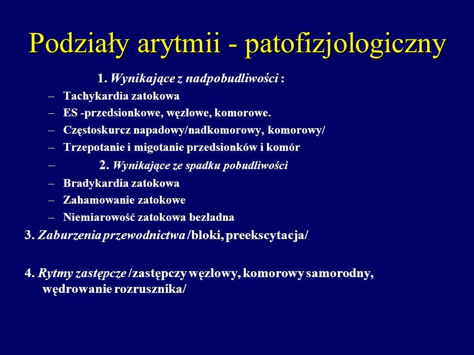 Podziały arytmii - patofizjologiczny 1. Wynikające z nadpobudliwości : –Tachykardia zatokowa –ES -przedsionkowe, węzłowe, komorowe. –Częstoskurcz napa