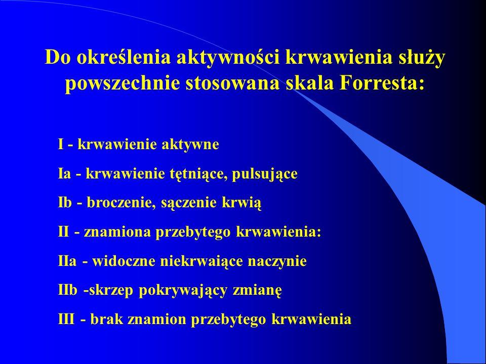 Do określenia aktywności krwawienia służy powszechnie stosowana skala Forresta: I - krwawienie aktywne Ia - krwawienie tętniące, pulsujące Ib - brocze