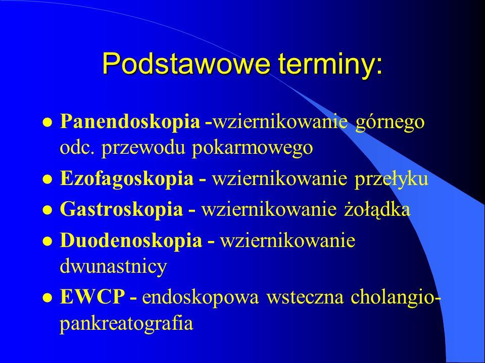 Podstawowe terminy: l Panendoskopia -wziernikowanie górnego odc. przewodu pokarmowego l Ezofagoskopia - wziernikowanie przełyku l Gastroskopia - wzier